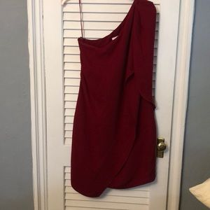 One sleeved Red cocktail dress.